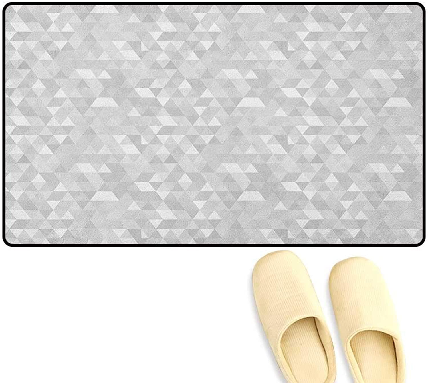 Zojihouse Grey and White Door Mats for Inside Non Slip Backing Pattern with Triangles Mosaic Geometrical Hipster Low Poly Effect Size 24 x36  Pale Grey and White