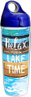 Tervis 1250478 Relax You're on Lake Time Tumbler with Wrap and Blue with Gray Lid 24oz Water Bottle, Clear