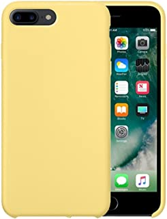 iPhone 8 Plus Case, iPhone 7 Plus Case, iPartsBuy for iPhone 7 Plus(2016)/ 8 Plus(2017) Pure Color Liquid Silicone Gel Rubber Case with Microfiber Cloth Lining Cushion (Yellow)