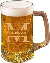 Personalized 25 oz. Monogrammed Beer Mug - Stamped Monogram