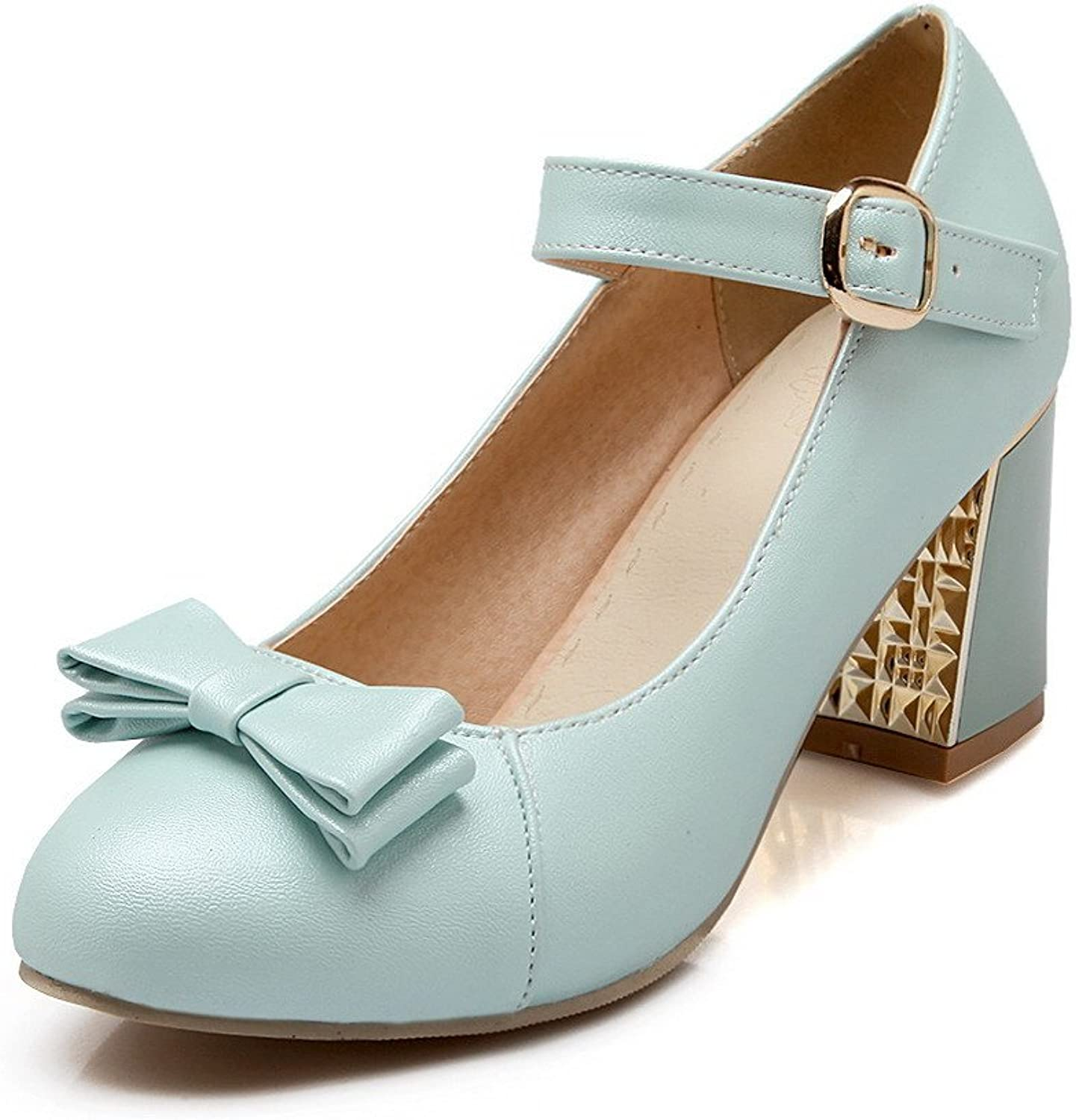 WeenFashion Women's Buckle PU Round Closed Toe High-Heels Solid Pumps-shoes