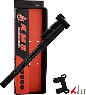 Shiningeyes Bike Pump with Gauge Fits Presta and Schrader - Accurate Inflation - Mini Bicycle Tire Pump for Road, Mountain and BMX Bikes, High Pressure 120 PSI, Includes Mount Kit.