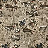 Kt KILOtela Tela de loneta Estampada Digital - Half Panamá, Oeko-Tex Standard 100 - Retal de 100 cm Largo x 280 cm Ancho | Cartas Vintage Sookie - Marrón Beige ─ 1 Metro