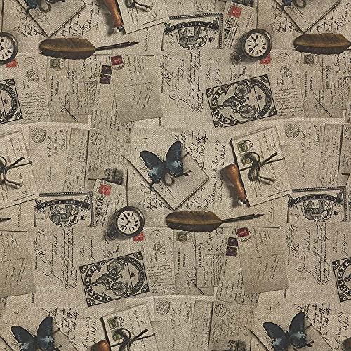 Kt KILOtela Tela de loneta Estampada Digital - Half Panamá, Oeko-Tex Standard 100 - Retal de 100 cm Largo x 280 cm Ancho   Cartas Vintage Sookie - Marrón Beige ─ 1 Metro