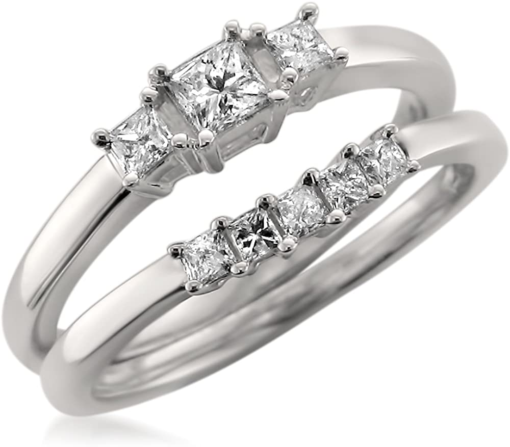1/2 Carat Diamond,Prong-Set 14kt White Gold Princess-Cut Diamond Three-Stone Engagement Bridal Set Wedding Ring (I-J, I1-I2) by La4ve Diamonds   Real Diamond Wedding Ring For Women   Gift Box Included