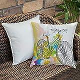 Weich Bequem Kissenbezug,Skizzenhaftes, von Hand gezeichnetes Bild eines Fahrrads Abstraktes buntes Muster mit Schleife auf einem Fahrr,Kissenhülle mit Verstecktem Reißverschluss 18x18 Zoll 45x 45 cm