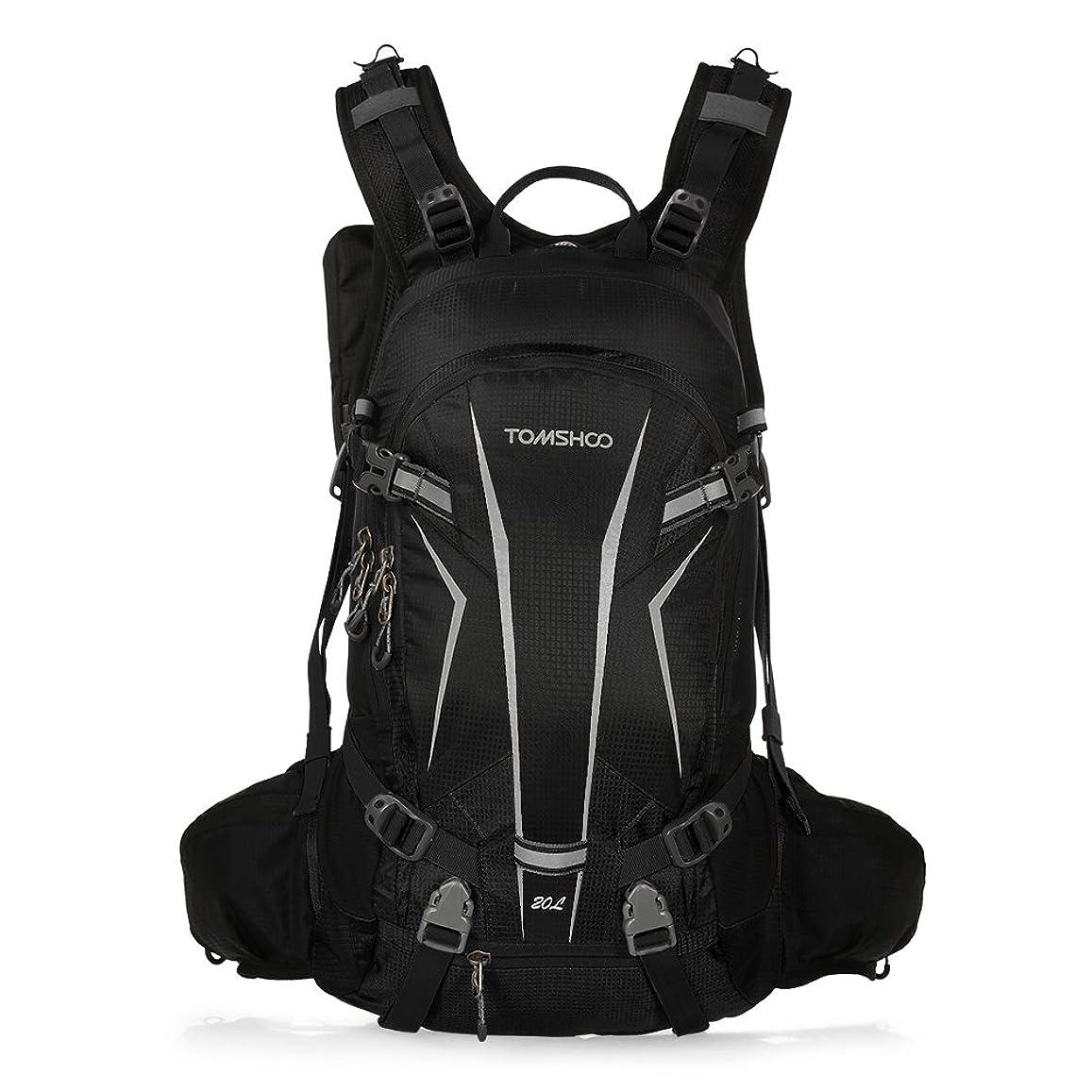 体細胞追加司教TOMSHOO バックパック 登山 サイクリングバッグ アウトドアバッグ自転車 20L 大容量 超軽量 防災 光反射 防水 通気 旅行 ウォーキングバッグ リュックサック レインカバー付き