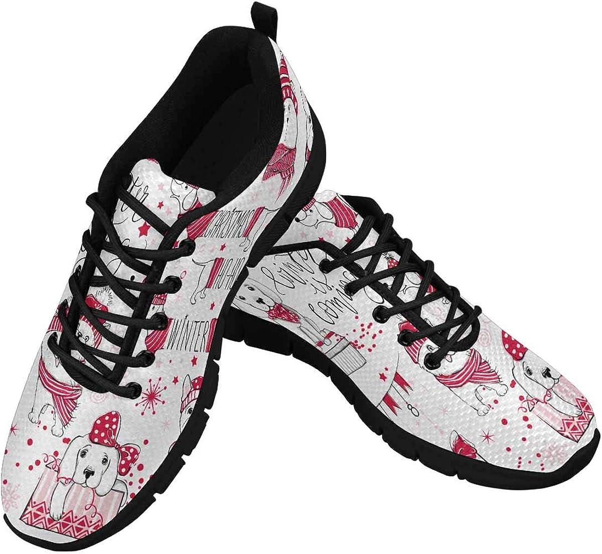 InterestPrint Cartoon Animals Xmas 2018 Women's Athletic Walking Shoes Comfort Mesh Non Slip