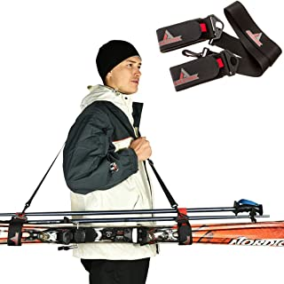 Athletrek Ski and Pole Carrier Strap with Durable Cushioned Hook and Loop to Protect Skis from Scratches   Bonus Ski Boot Carrier   Perfect Ski Snow Gear Accessory   Use Over Shoulder to Free up Hands