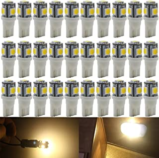 AMAZENAR 30-Pack Warm White Replacement Stock # 194 T10 168 2825 W5W 175 158 Bulb 5050 5 SMD LED Light,12V Car Interior Lighting For Map Dome Lamp Trunk Dashboard Parking Lights - Best Value