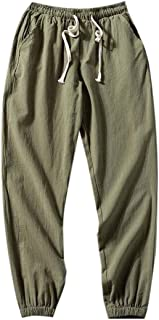 Yisism Mens Fitted Casual Trousers Beach Cotton Drawstring Linen Jogger Pants
