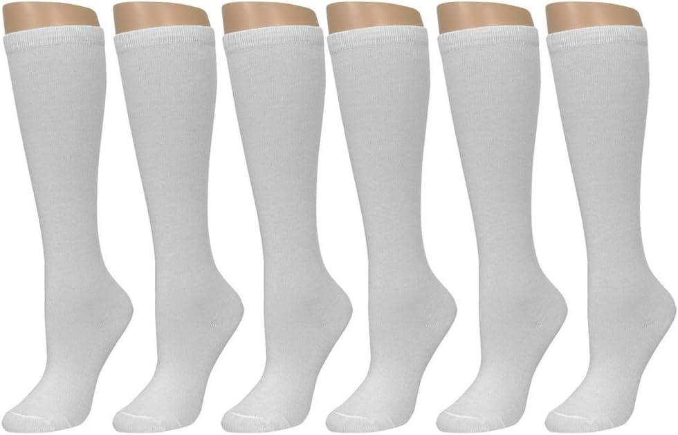 6 Pairs Knee High Uniform School Soccer Socks Womens Girl White Size 9-11 XL Lot