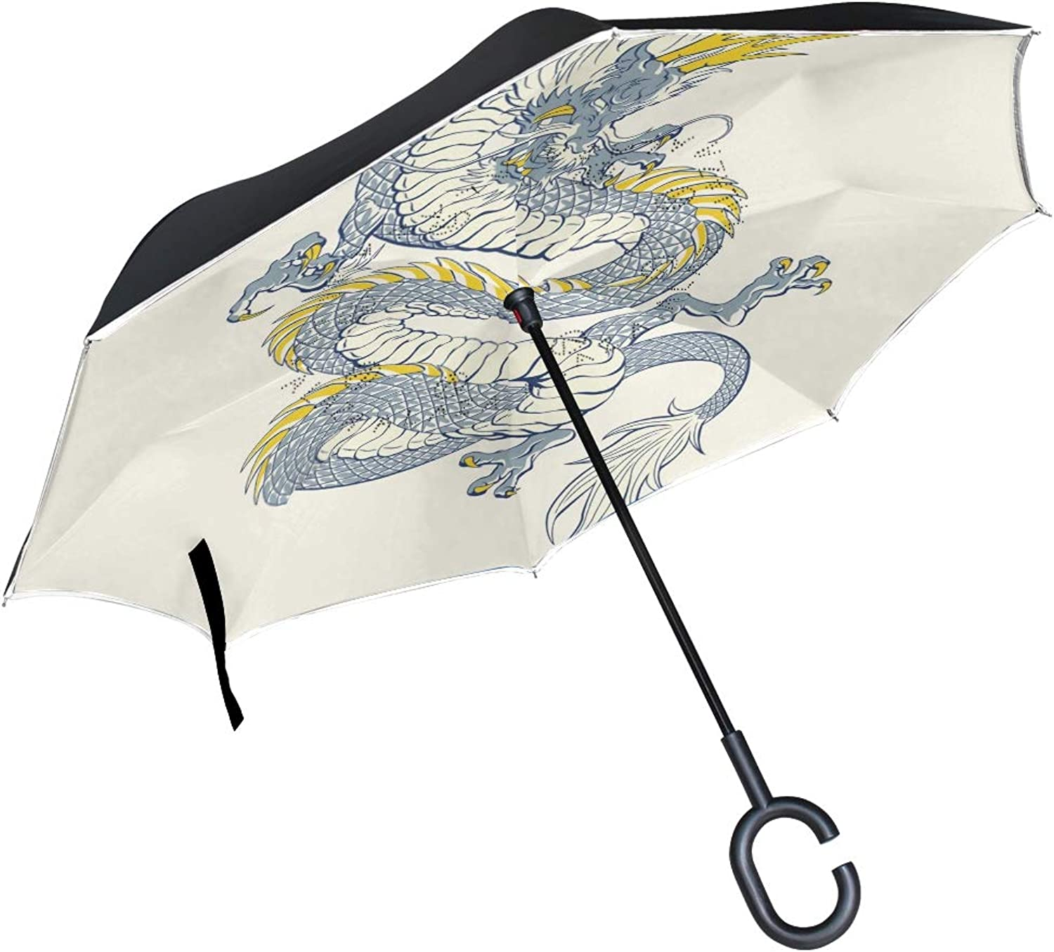 FAJRO Dragon Drawing Upside Down Ingreened Umbrellas CShaped Handle for Car Rain Outdoor Women Men