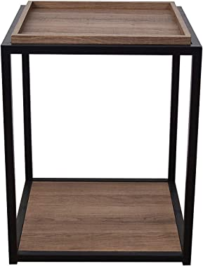 Nathan James Nash Modern Industrial Accent End or Side Table with Tray Top Wood Shelves & Durable Matte Metal Frame, Rust