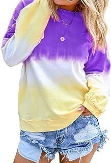 Tsun Women Rainbow Sweatshirt Long Sleeve Gradual Printed Pullover Sweatshirt Tops Blouse