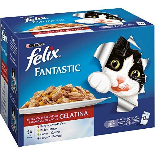Purina Felix Fantastic Festín Gelatina comdia para gatos Selección Surtido de Carnes 6 x [12 x 100 g]