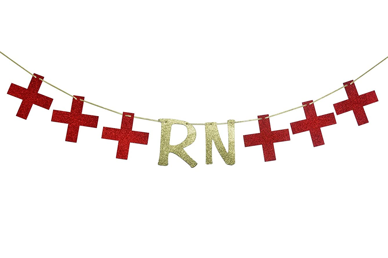 RN Nurse Party Banner for Graduation Party Decorations Nurse Retirement Garland Medical School Hospital Sign Red and Gold Glitter