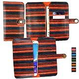 Emartbuy Orange Vintage Stripes PU Leather Wallet Case