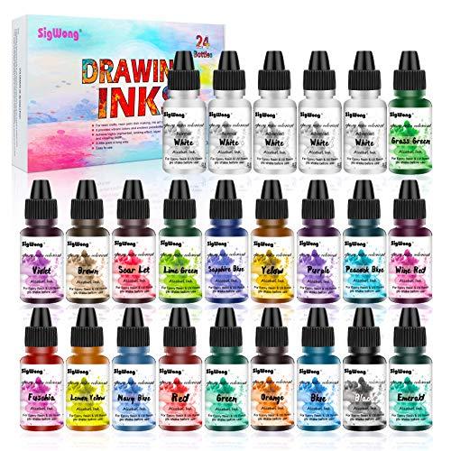 Encre Alcool - 24 Couleurs Alcohol Ink Hautement Concentrée - Teinture de couleur pour peinture en résine époxy - Idéal pour les assiettes de Petri en résine(10 ml chacun)