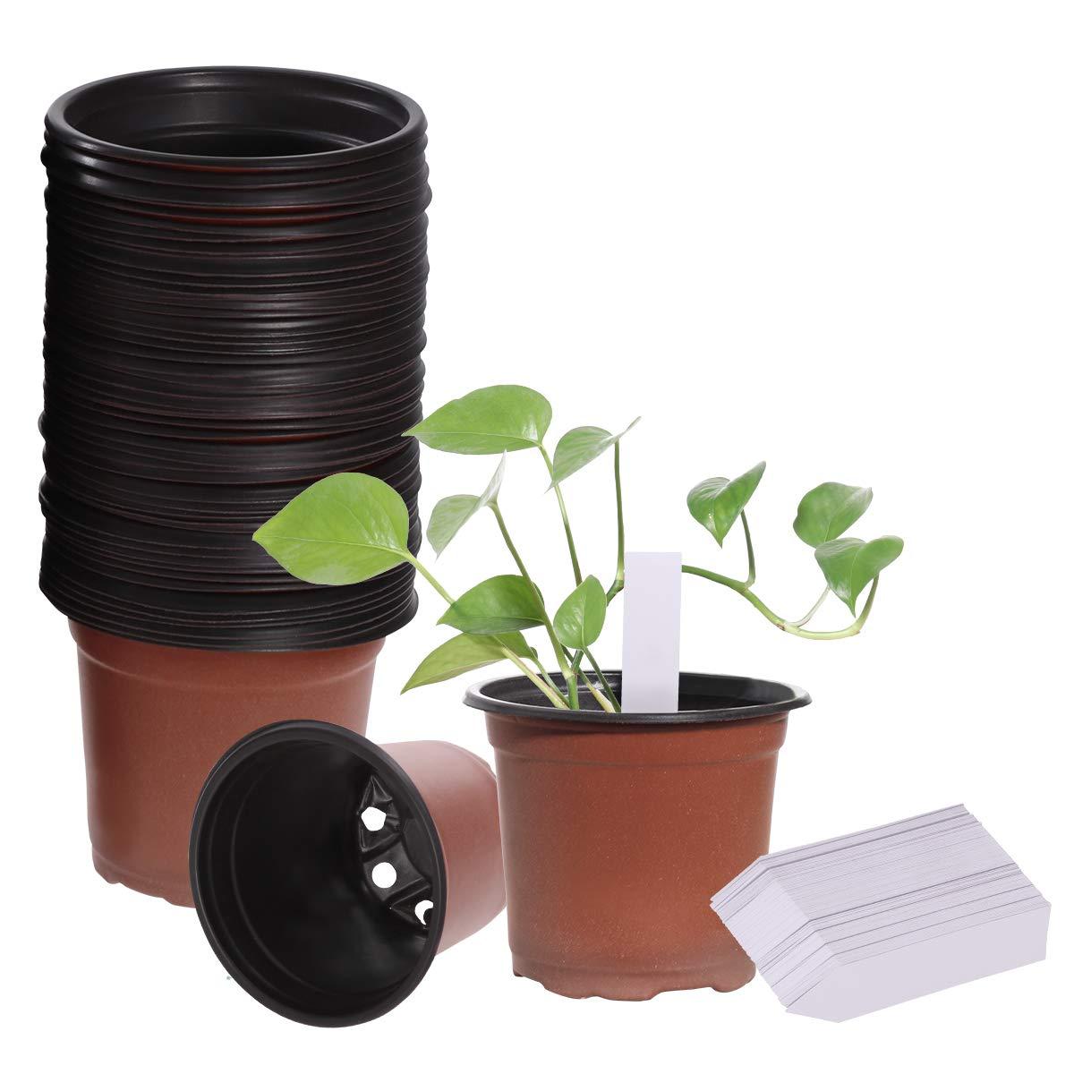100Pcs Plastic Nursery Pot Flower Plant Container Garden