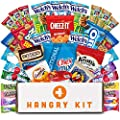 HANGRY KIT Essentials Snacks Variety Pack for Adults and Kids, 32 Classic Assorted Treats with Chips, Crackers, Peanuts, Granola Bars, and Candy for Lunches, Military Care Packages, College Students by