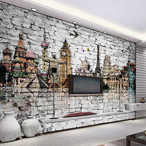 Preisvergleich Produktbild Xcstdjx 3D Mural Wallpaper Roll Klassische europäische Architektur Eiffelturm,  Big Ben,  Freiheitsstatue Ziegelmauer