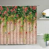 XCBN Hojas de Palmera Tropical Planta Verde Cortinas de Ducha Cactus Diente de león Flor Paisaje Cortina Impermeable Decoraciones de baño A7 200x200cm