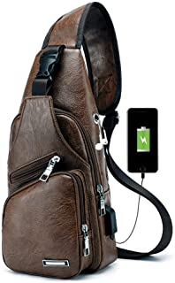 Men'S Side Sling Leather Backpack Chest Bag For Men With USB Charging Port Anti Theft Small Sling Backpack Men(Dark Brown-PU)