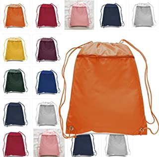 Set of 12 Cinch Sack Drawstring Bags with Zippered Pocket