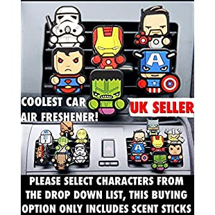 Two Pairs X SWEET CANDY Refill Sticks, Coolest Novelty Car Air Fresheners! Marvel Avengers, Game Of Thrones, Deadpool, Batman, Hulk, Thor, Ironman, Transform Your Boring Car Into The Coolest Car In 60