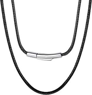 """Can Engrave, Waterproof Braided Leather Necklace Wax Rope Chain, 2/3mm Width Replacement Chain, with Durable Snap Clasp, 16""""18"""