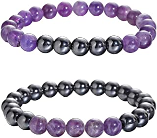 QIMOSHI Magnetic Hematite Bracelets for Women Men Therapy Healing Stone Bracelet and Relief for Arthritis a...