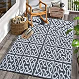SAND MINE Reversible Mats, Plastic Straw Rug, Fade Resistant Area Rug, Large Floor Mat and Rug for Outdoors, RV, Patio, Backyard, Deck, Picnic, Beach, Trailer, Camping (5' x 8', Black & Grey)