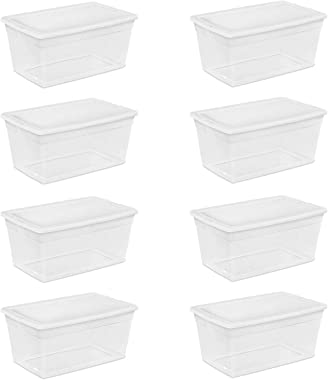 Sterilite 90-Quart Storage Box with Clear Base and White Lid (8 Pack) | 16668004