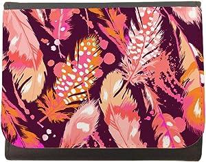 محفظة جلد  بتصميم ريش طيور ملونة  ، مقاس 12cm X 10cm