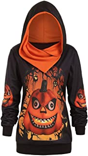 Women Pumpkin Print Halloween Hoodie Casual Loose Plus Size Sweatshirt Long Sleeve Hooeded Tops Blouse