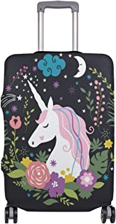 Mydaily Unicorn Flower Luggage Cover Fits 18-32 Inch Suitcase Spandex Travel Baggage Protector
