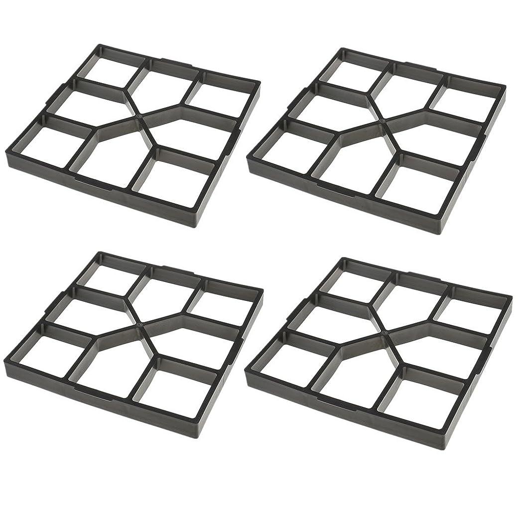 あご横に罹患率Fenteer モールド 4個 DIY ガーデニング 道路 成形 舗装 金型 セメント レンガ プラスチック 40cm 正方形 高品質
