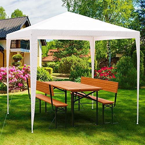 Deuba® Pavillon 3x3m 9m² wasserabweisend Stecksystem UV-Schutz 50+ Festzelt Partyzelt Gartenzelt Festival weiß