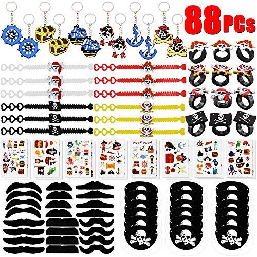 BabyCareV 88Piezas Pirata Cumpleaños Party Accesorios Pirata Llavero Pirata Pulsera Pirata Anillo...
