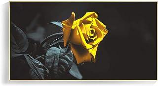 Canvas Poster Wall Art Modular Print Black Background Yellow Rose Picture Modern Home Decor (60x120cm) Frameless