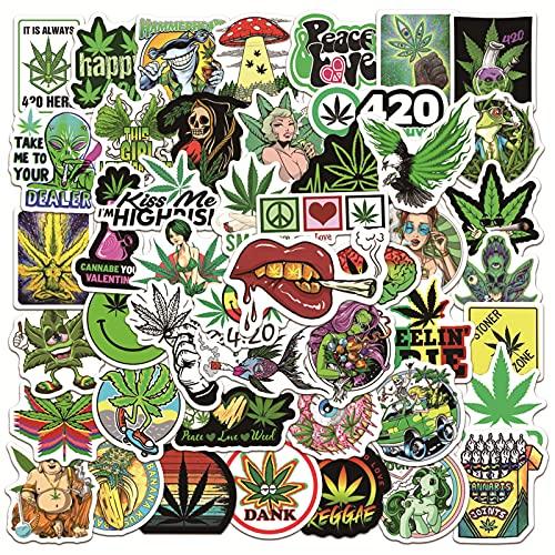 HENJIA 50 Piezas Pegatina de Hoja de Cannabis Equipaje Mac monopatín Casco de Becerro Tendencia Graffiti ilustración Impermeable Europa y Estados Unidos