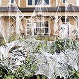 RBSFL Halloween Deko, Spinnennetz Halloween, Halloween Deko Horror 120g Halloween Spinnennetz Mit 60 Spinne, Spinnennetz für Halloween Deko Garten Party Deko Horror Deko