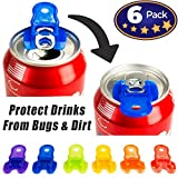Color Coded Drink Shield and Soda Protector for Family, 6Pk Fun Colored Plastic Tab Openers for Pop, Beer or Soda Cans. Beverage Barricade Anti-Bug Shields Protect Cold Drinks from Bees at Picnic, BBQ