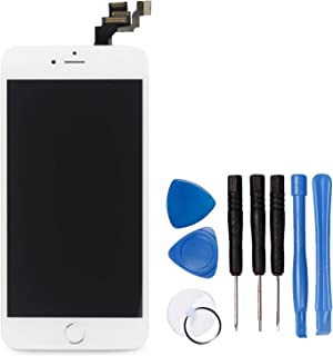 Ayake for iPhone 6 Plus Digitizer Screen Replacement White 5.5'' Full LCD Display Assembly with Home Button, Front Facing ...