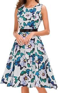 DAY8 Abito Donna Eleganti Estivi Taglie Forti Corti Vestiti Donna Vintage Retro Orlo Pieghe Irregolare Cotone Donna Abbigliamento Abiti Casual Spiaggia Donna Festa Cerimonia Mini Vestito