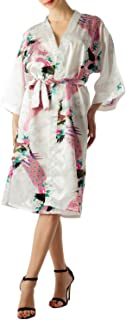 iB-iP Women's Peacock and Plum Blossom Fashion Japanese Kimono Style Midi Robe