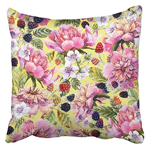 AEMAPE Fundas de cojín Rosa Acuarela Abstracta Peonía Flores Moras Patrón Floral Retro Berry Cumpleaños Flor 40X40 Cm Funda de cojín