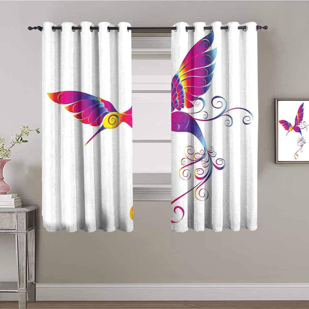 Hummingbirds Decor Kids Curtain Cur Max 63% OFF Colorful Genuine Free Shipping Hummingbird Feather