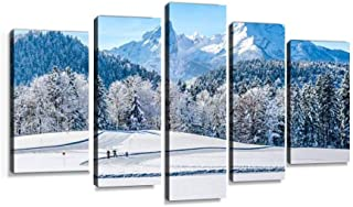 XEPPO Winter Landscape in The Bavarian Alps with Watzmann massif, Germany Prints Canvas Wall Art Abstract Landscape Photography Paintings for Modern Home Decor 5Pcs Modern Stretched and Framed
